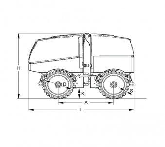 Blueprint side view Dynapac D.ONE