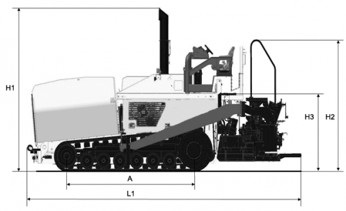 Blueprint side view Dynapac F1000T (T4)