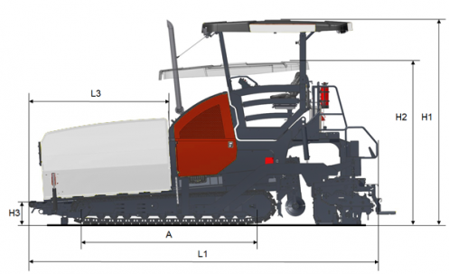 Blueprint side view Dynapac F2500CS
