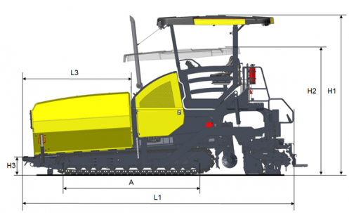 Blueprint side view Dynapac F2500C