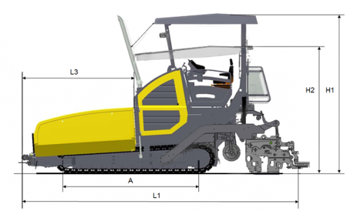 Blueprint side view Dynapac F3030C