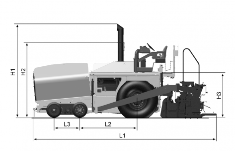 Blueprint side view Dynapac F1000W (T4)