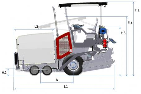 Blueprint side view Dynapac F1800W