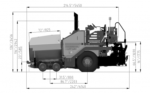 Blueprint side view Dynapac F800W