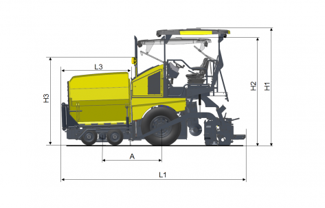 Blueprint side view Dynapac F1700WS