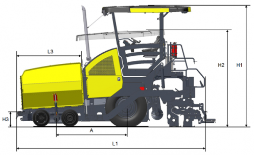 Blueprint side view Dynapac F2500W