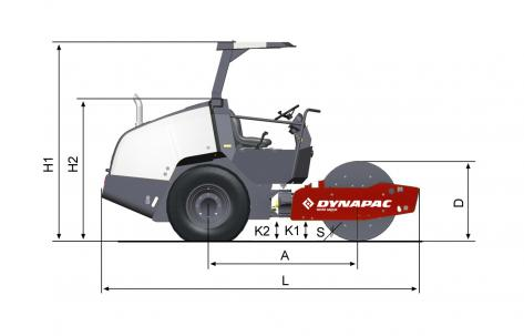 Blueprint side view Dynapac CA1300D