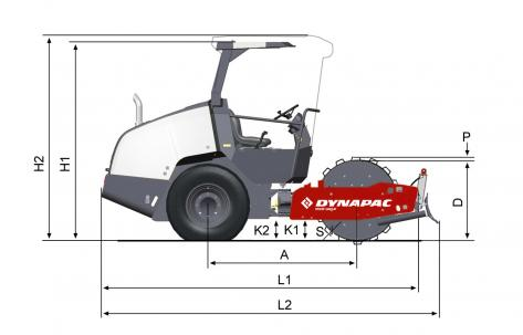 Blueprint side view Dynapac CA1300PD w. blade