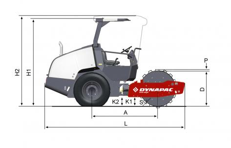 Blueprint side view Dynapac CA1400PD