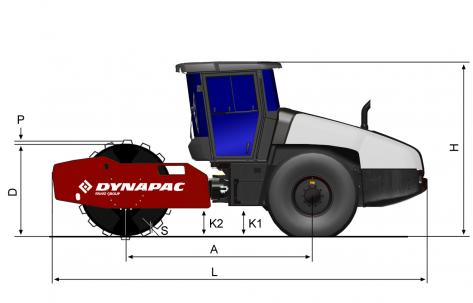 Blueprint side view Dynapac CA2500PD