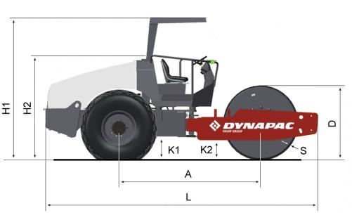 Blueprint side view Dynapac CA250D