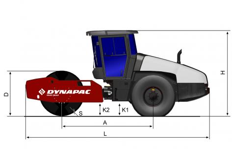 Blueprint side view Dynapac CA2800D