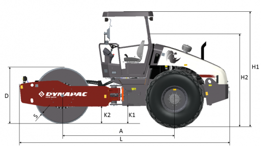 Blueprint side view Dynapac CA305D
