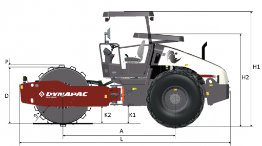 Blueprint side view Dynapac CA305PD