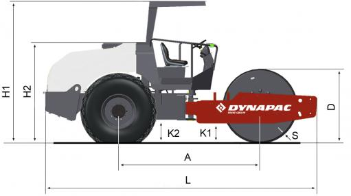Blueprint side view Dynapac CA385D