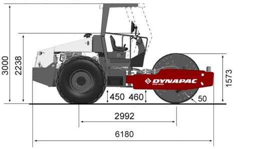 Blueprint side view Dynapac CA610D