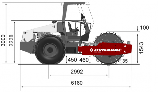 Blueprint side view Dynapac CA610PD