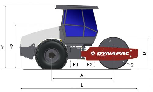 Blueprint side view Dynapac CA702D