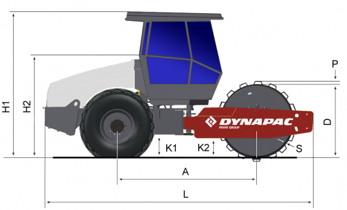 Blueprint side view Dynapac CA702PD