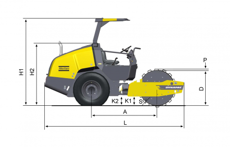 Blueprint side view Dynapac CA1300PD