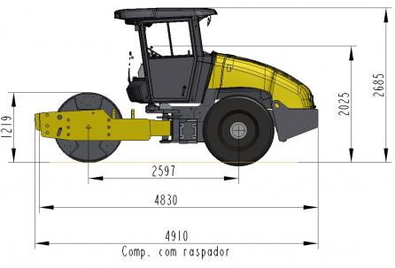 Blueprint side view Dynapac CA150D