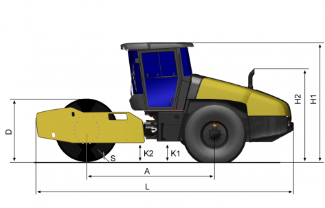 Blueprint side view Dynapac CA1800D