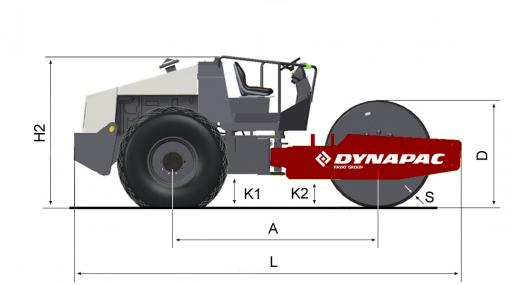 Blueprint side view Dynapac CA250P
