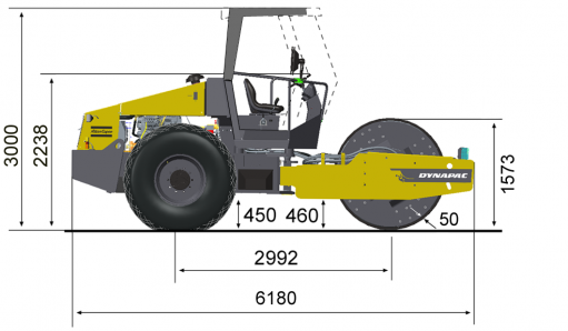 Blueprint side view Dynapac CA510D