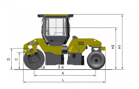 Blueprint side view Dynapac CC4200C