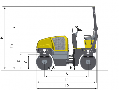 Blueprint side view Dynapac CC125
