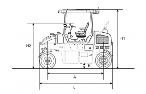 Blueprint side view Dynapac CP1200W