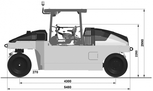 Blueprint side view Dynapac CP2700