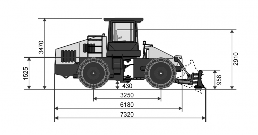Blueprint side view Dynapac CT3000